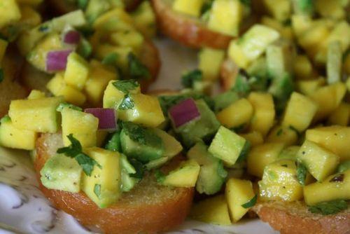 Mango-avacado bruschetta