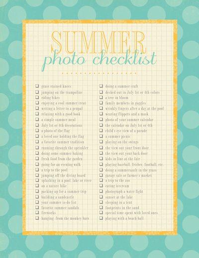Summerphotochecklist