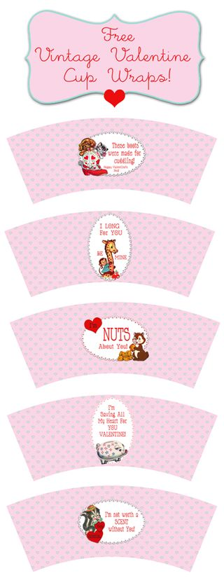 Free Vintage Valentines Cup wraps for Shabby Blogs by FPTFY