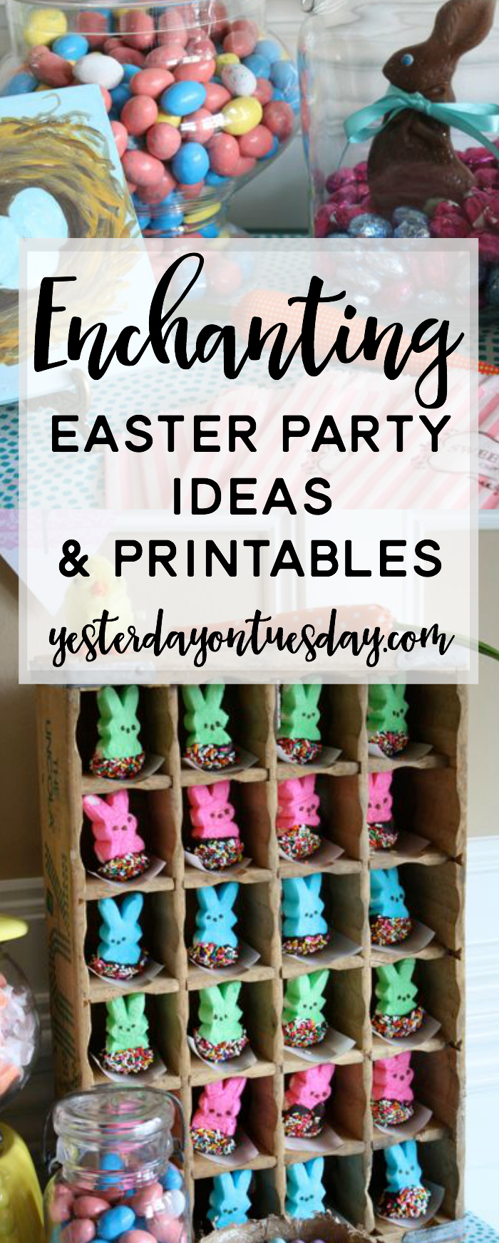 Enchanting Easter Party Ideas and Printables: Thrifty and chic ideas (including vintage finds) for using things you already have to decorate your home for Easter and an Easter Party! Fun Easter treat ideas too.