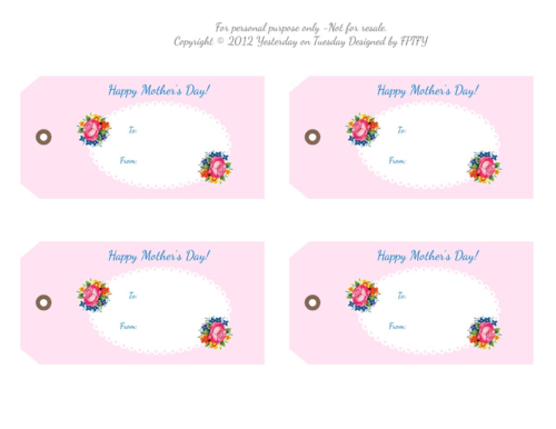 photograph about Free Printable Mothers Day Tags named No cost Printable Moms Working day Tags Yesterday Upon Tuesday