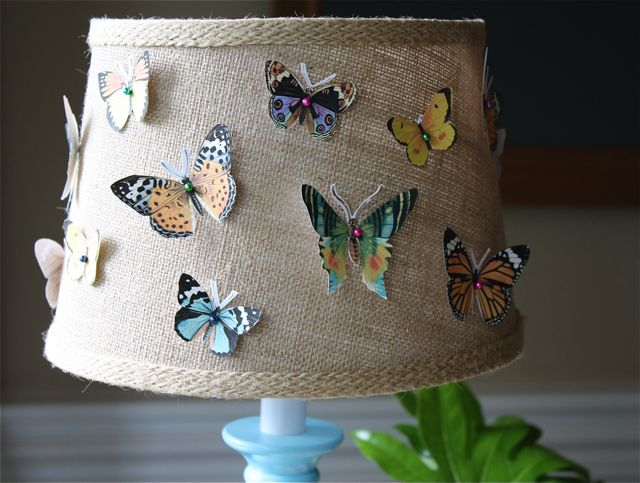 Butterfly specimen lamp shade