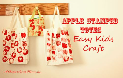 Apple stamped totes