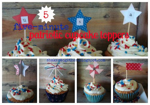Patriotic cupcake toppers collage BLOG