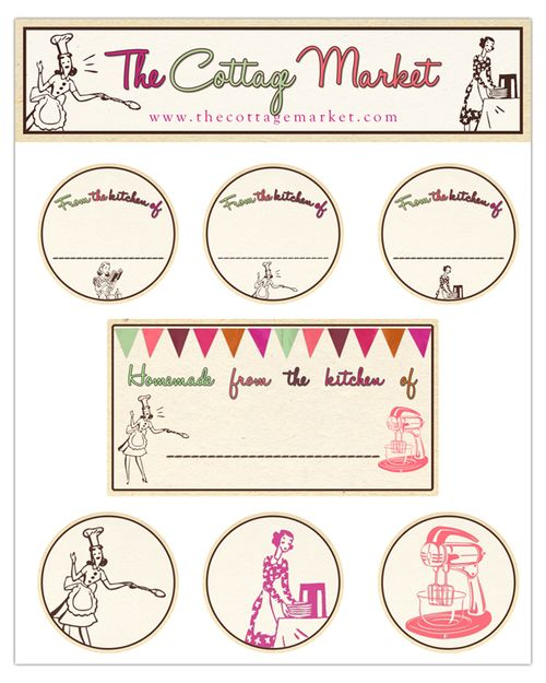 Free printable kitchen labels - the cottage market