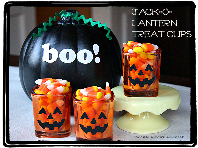 Jack-o-Lantern Treat Cups - YoT #halloween