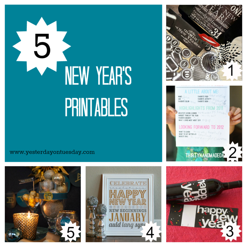 5 New Years Printables - Yesterday on Tuesday #newyears #newyearscrafts #newyearsprintables