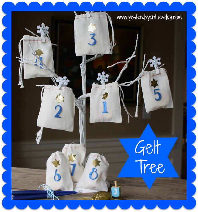 Hannukah Gelt Tree - Yesterday on Tuesday #hanukkahcrafts #hanukkah #hannukahdecor