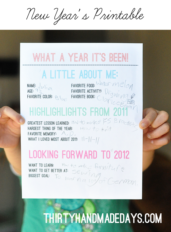 New Years Printable - 30 Handmade Days