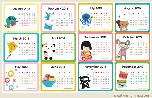 Mini Kawaii Calendar - Creative Mamma #freecalendar