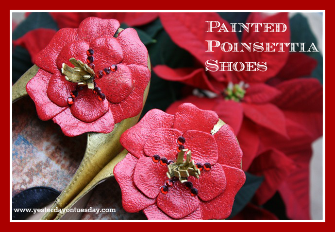 Painted Poinsettia Shoes - Yesterday on Tuesday #paintedshoes