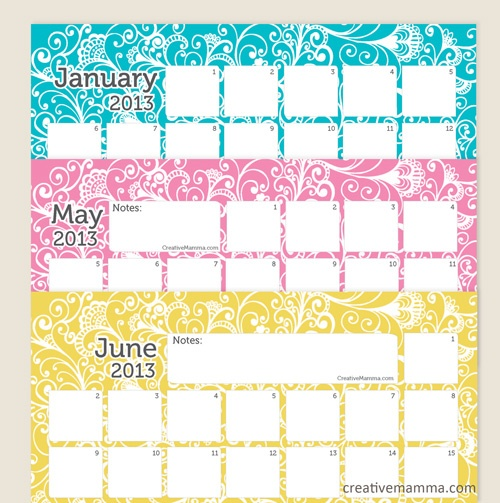 Write In Calendar - Creative Mama #freecalendar