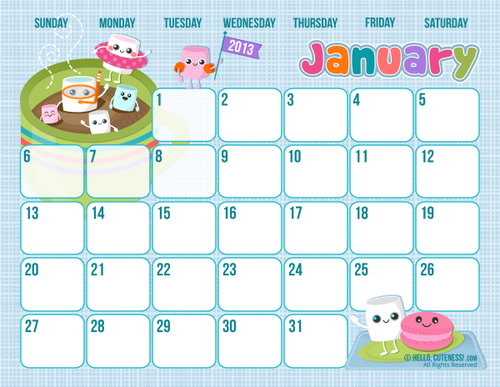 Fee Calendar - Hello Cuteness #freecalendar