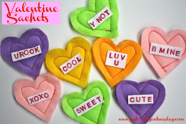 Valentine Heart Sachets - Yesterday on Tuesday #valentinesday #valentinecrafts