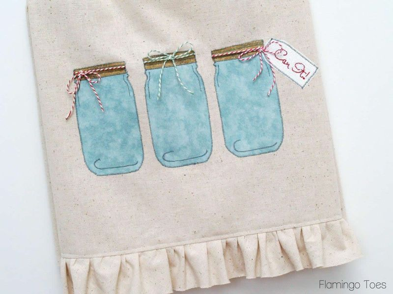 Mason Jar Dishtowel  - Flamingo Toes