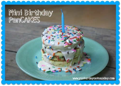 Mini Birthday Cake Batter Pancakes - Yesterday on Tuesday