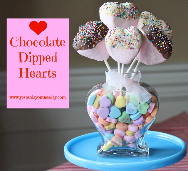 Chocolate Dipped Hearts - Yesterday on Tuesday #kraftmarshmallows, #valentinesday, #valentinesdayfood