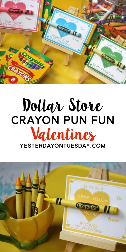Dollar Store Crayon Fun Pun Valentines: Funny printable valentines for every color of the crayon rainbow. A budget friendly and cute classroom valentine idea!