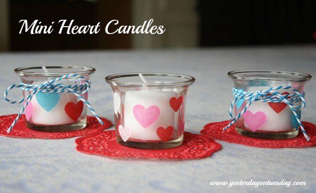 Mini Heart Candles - #yesterdayontuesday #valentinesday #candles #modpodge