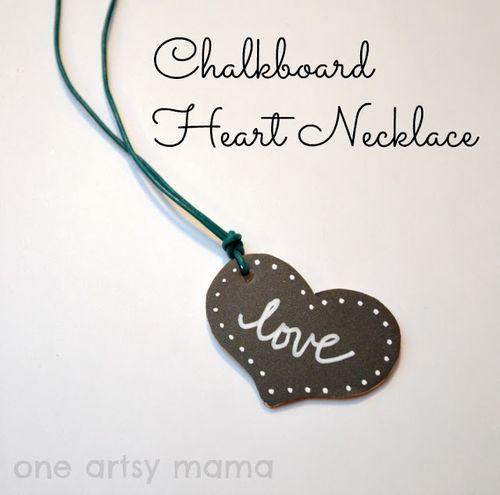 Chalkbard Heart Necklace - One Artsy Mama