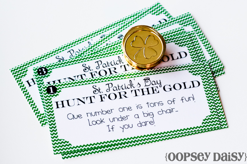 St. Pat's Day Treasure Hunt - Oopsey Daisy Blog #stpatricksday #stpatricksdaycrafts #greencrafts