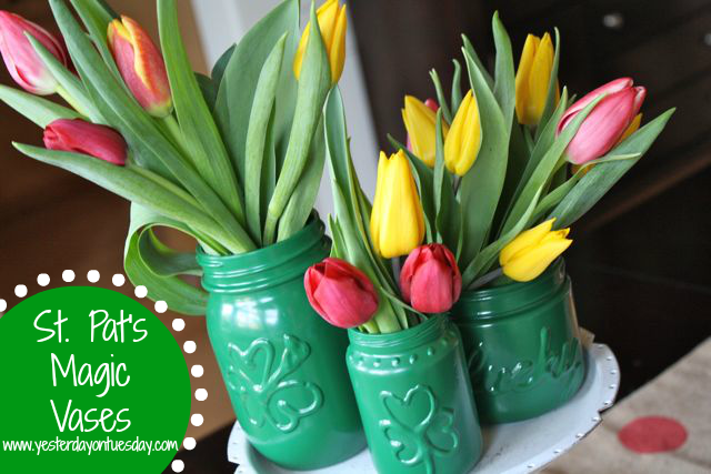 St. Pat's Magic Vases - YoT #stpatricksday #tulip #krylon #yesterdayontuesday