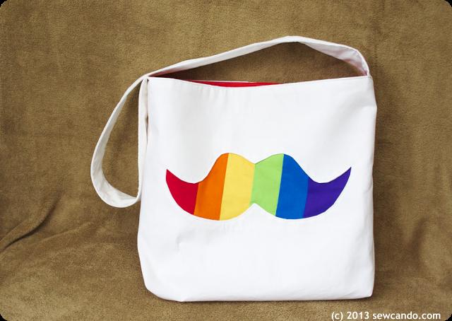 Rainbow Stache Bag - #sewcando