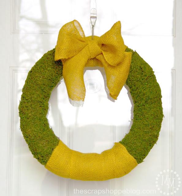 Burlap Moss Spring Wreath  - #thescrapeshoppe