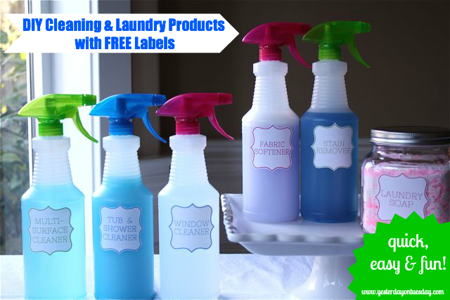How to make your own kitchen cleaner, glass cleaner, laundry soap and fabric detergent PLUS FREE printable labels