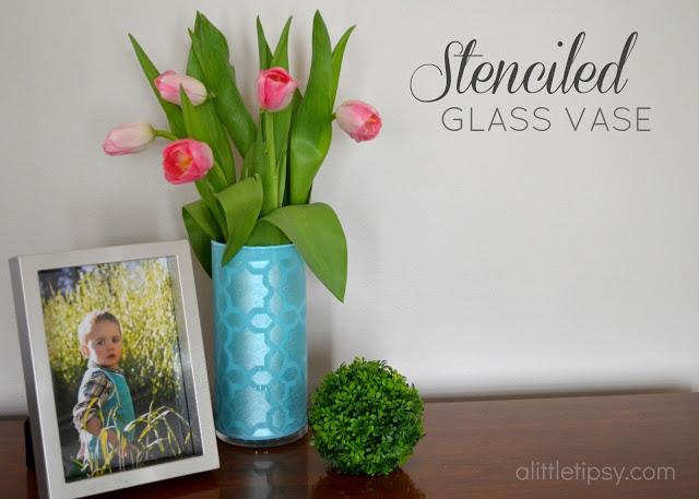Stenciled Glass Vase - A Little Tipsy