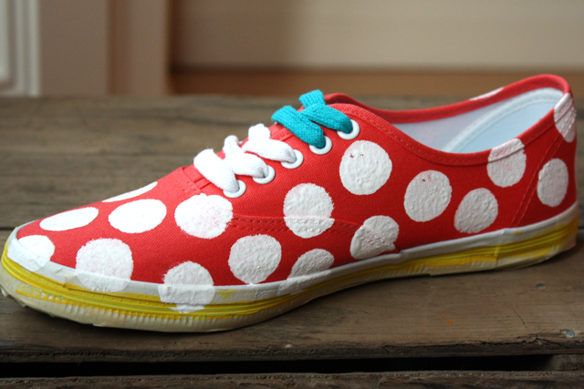 Painted canvas sneakers
