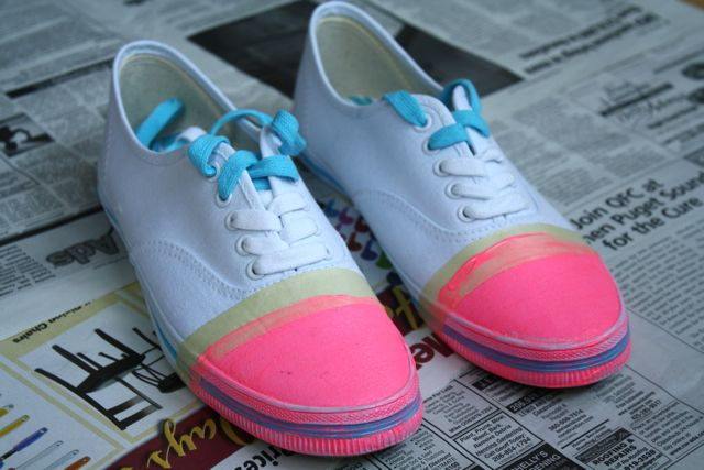 DIY Pink Cap Toe Sneakers