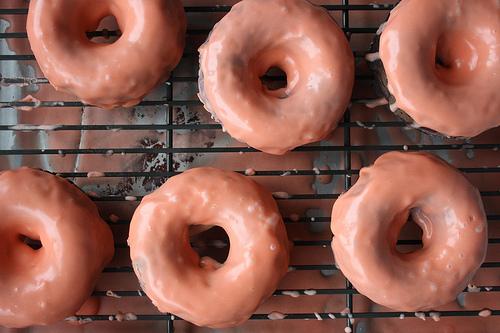 Chocolate Doughnuts with Blood Orange Glaze