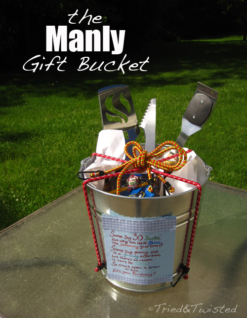 manlygiftbucketle jpg project inspire d weekly link party 18 homemade father day gift baskets