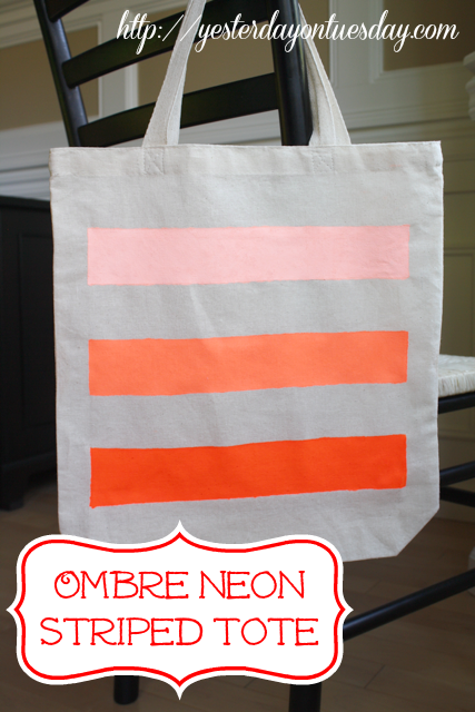 Neon Ombre Striped Tote