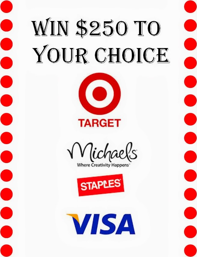 Win a BIG gift card to Target, Michaels, Staples or Visa