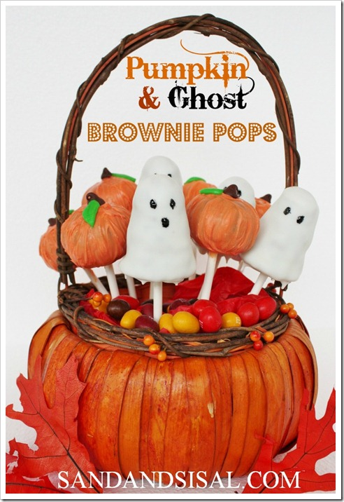 Pumpkin & Ghost Brownie Pops - Sand and Sisal