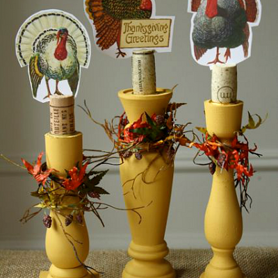 Thanksgiving Candlestick Decor