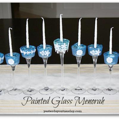 Painted Glass Menorah