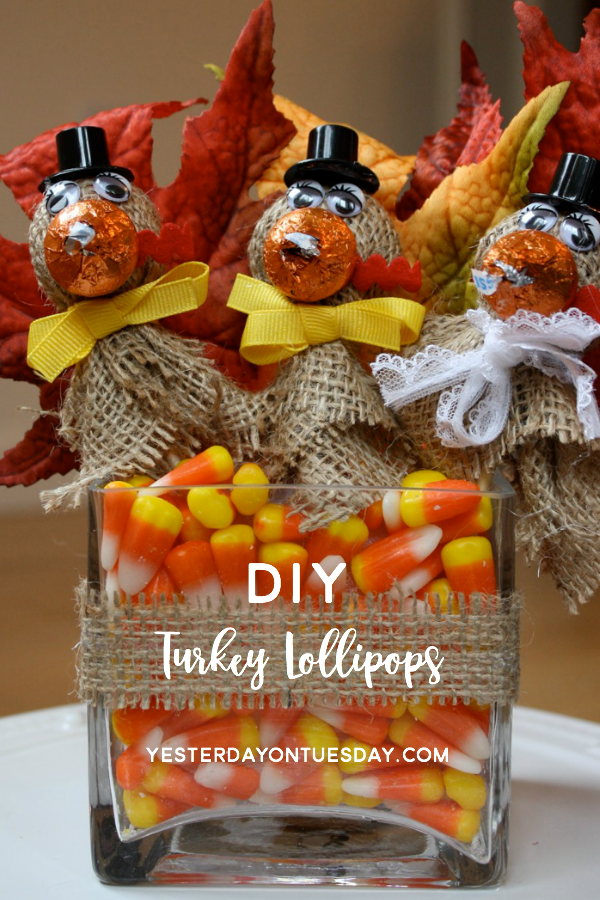 DIY Turkey Lollipops: How to make darling burlap turkey lollipops, a fun craft idea for kids.