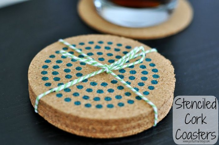 Stenciled Cork Coasters from Just Us Four