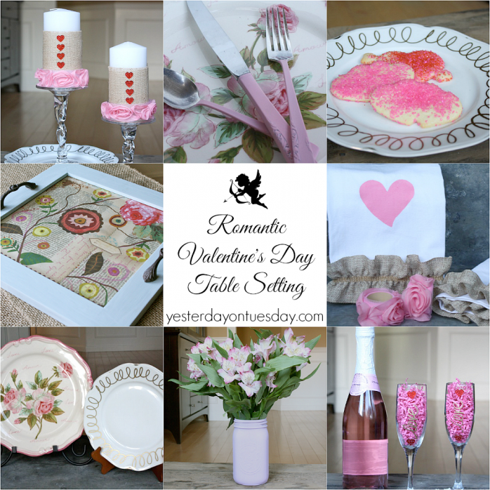 Romantic Valentine's Day Table Setting Crafts and Decor #valentinesday