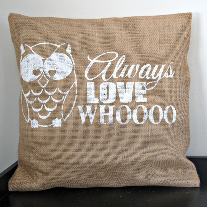 owl burlap pillow by the silhouette school