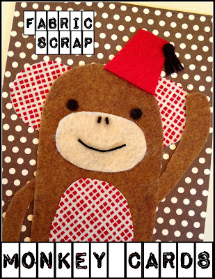 Fabric Scraps Monkey Cards