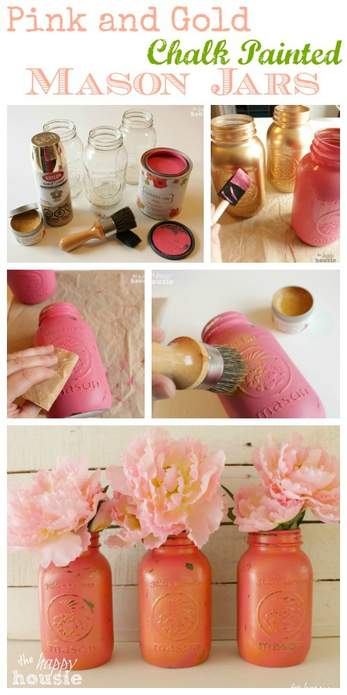 How-to-make-your-own-easy-and-super-pretty-chalk-painted-Mason-Jars-in-any-color-you-wish-these-ones-are-pink-and-gold-with-gold-wax-tutorial-at-The-Happy-Housie