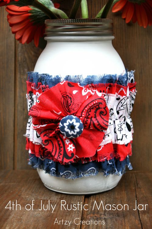 4th of July Rustic Mason Jar by Artzy Creations