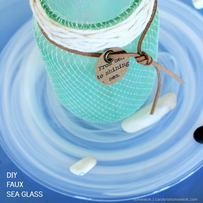 Faux Seaglass Jar by Carolyn's Homework