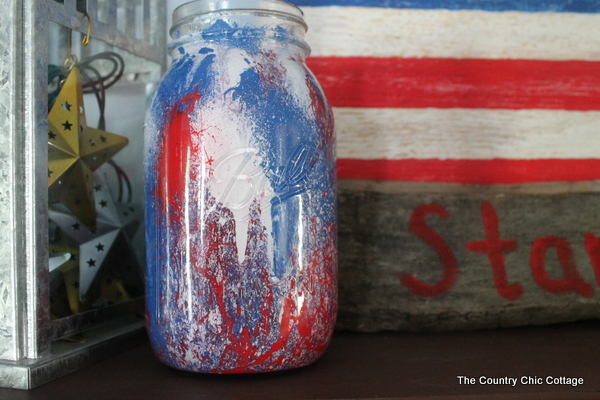 Fireworks Painted Mason Jar by The Country Chic Cottage