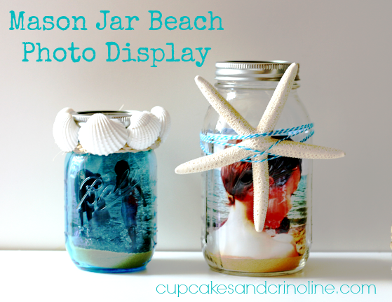 Mason-Jar-Beach-Photo-Display by Cupcakes and Crinoline