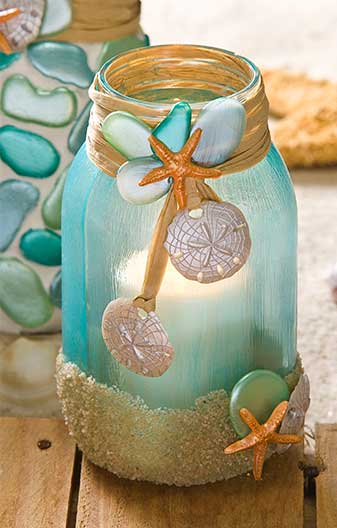 Mason Jar Candle Holder for a Beach Wedding by Cathie and Steve for Plaid